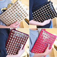 Womenl lady Retro Rivet Clutch Bag Shoulder Bag Envelope Bag Handbag New