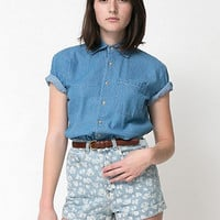 American Apparel - Unisex Denim Short Sleeve Button-Up with Pocket