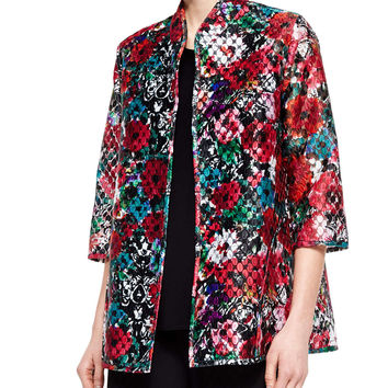 3/4-Sleeve Embroidered Organza Jacket, Size: