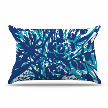"Patternmuse ""Inky Floral Navy"" Blue Teal Painting Pillow Sham"