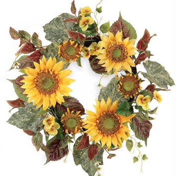 2 Sunflower Wreaths - Artificial