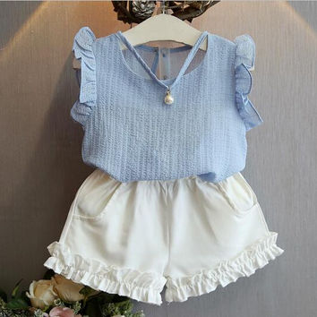 Girl Clothing Set 2017 Baby Girls Summer Korean Fashion, Pearl sleeveless Blouse+Shorts Suits, Free Shipping