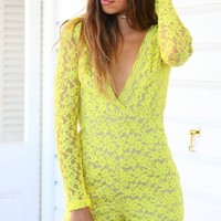 MY SUNSHINE PLAYSUIT - long sleeve yellow lace playsuit