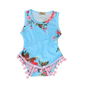 2017 New Floral Pattern Infantil Baby Girl Romper Para Bebe Tassel Ball Rompers One Piece Newborn Baby Clothes Suit Bebe