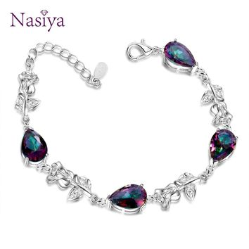 Fashion Elegant Bracelets For Women With Multicolor Gemstone Fine Jewelry 925 Silver Bracelets Women's Party Anniversary Gift