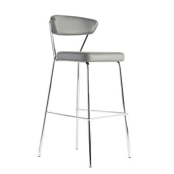 Draco-B Bar Stool In Gray With Chrome Base Frame And Base - Set Of 2