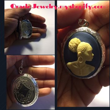 Blue Cameo Locket 30x 40 Necklace/Free Shipping