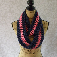 Ready To Ship Infinity Scarf Pink and Navy Thick Women's Accessory Infinity Scarf One of a Kind