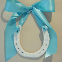 wedding horseshoe, White Iridescent glitter, horse shoe, Tiffany Blue Satin Ribbon, Custom Gift Tag, Wedding gift horseshoe
