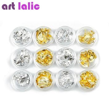 DCCKHG7 12 Pot/Set Nail Art Gold Silver Paillette Flake Chip Foil Kit Acrylic Gel Polish Tips 3D Design Sticker Manicure Pedicure Decal