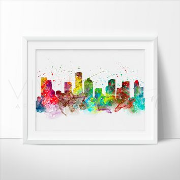 Houston Skyline Watercolor Art Print