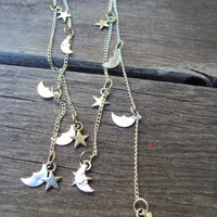 Silver Moon and Stars Earrings Boho Hipster Teen Fashion Jewelry