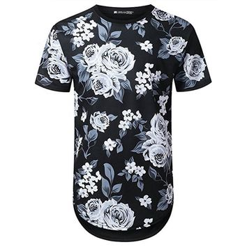 Floral Pattern Men Longline Shirts Extra Long Oversized Tall Tees