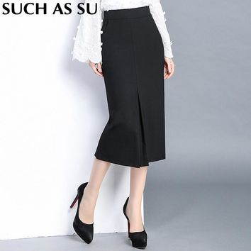 High Quality Knit Skirt Ladies Black Formal High Waist Pencil Skirt S-3XL Plus Size Occupation Skirt Slim Mid Long Skirt