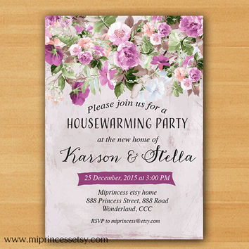housewarming invitation, flower, shabby chic, vintage floral,  new house, home sweet home, moved Invitation - card 11