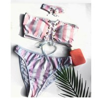 Hot Swimsuit Sexy New Arrival Summer Beach Swimwear Stripes Bra Scarf Bikini [182790488079]