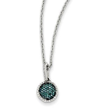 Blue & White Diamond Small, 9mm Round Necklace in Sterling Silver