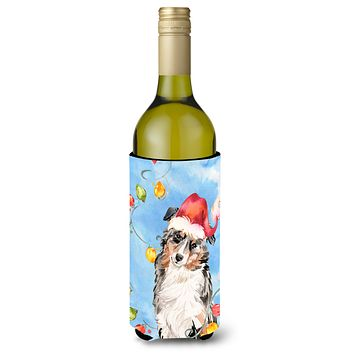 Christmas Lights Australian Shepherd Wine Bottle Beverage Insulator Hugger CK2504LITERK