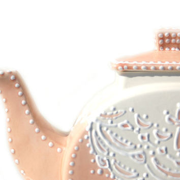 Peach Teapot with white lace detail for serving /Wedding/ Afternoon Tea / Christmas / teapot Collection