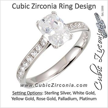 Cubic Zirconia Engagement Ring- The Akiko (2.11 TCW featuring Cathedral-style Oval Cut Center with Bezel Peekaboos))