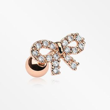 Rose Gold Chic Bow-Tie Sparkle Cartilage Tragus Barbell
