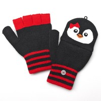 SO Peppy Penguin Flip-Top Fingerless Gloves
