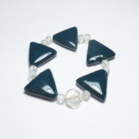 Peacock Porcelain Triangle and Clear Glass Beaded Stretch Bracelet
