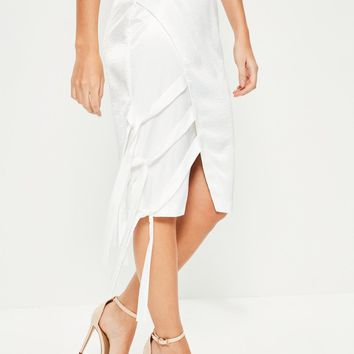 Missguided - Cream Hammered Satin Tie Side Midi Skirt