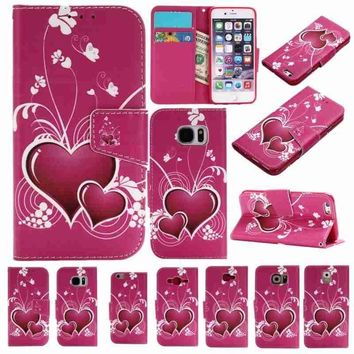 Rose Heart 3D Relief Painted Pattern Flip Cover Holster PU Leather Wallet Card Slots Holder Protection Phone Case Cover For iPho