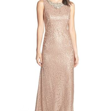 Women's Eliza J Embellished Neck Lace Gown,