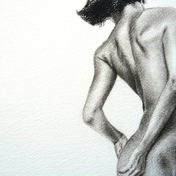 Figure study female nude original charcoal drawing by ggsarts