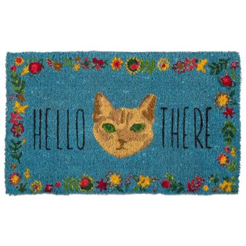Hello There Kitty Cat Non-slip Coir Doormat
