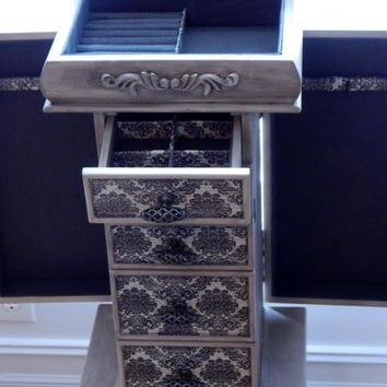 Damask Repurposed Jewelry Armoire- Custom Made To Order