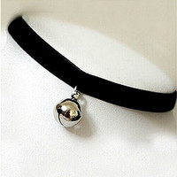 Lolita Lovely Bell Collar Velvet Choker Necklace (silver2)