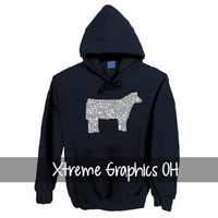 Stock Show Hoodie- Bling Show Steer, Pig, Lamb, Goat, Horse, Dairy Cow