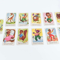 Vintage Animal Playing Cards Kitschy Zoo Animal Cards Snap Game Kitsch Illustrations Tiger Squirrel Set Of 11 Card Game Ephemera Crafts