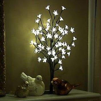 17.7 Cherry Blossom Bonsai Tree with 60 LED Lights — QVC.com