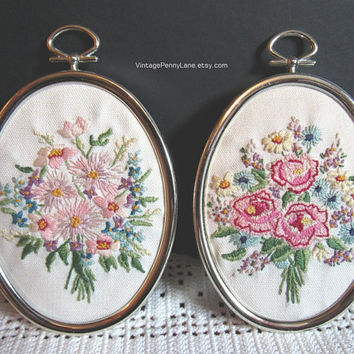 Vintage Floral Embroidery, Framed Needlepoint Art, Wall Hangings