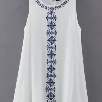 White Sleeveless Embroidered Loose Dress