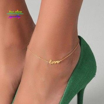 Women's Anklets Gold Plated LOVE Letter Bracelet For Ankle