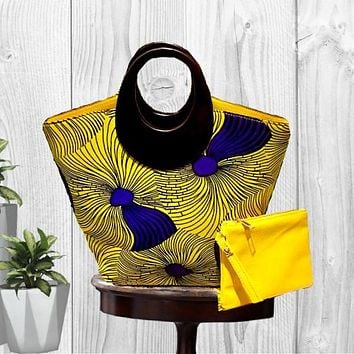 Mozart Fashion African Print Hobo Bag with Wallet