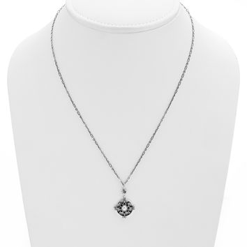 Dharmachakra Sterling Silver White Pearl Love Necklace