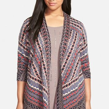 Plus Size Women's NIC+ZOE 'Electric Patterns' Open Front Cardigan,