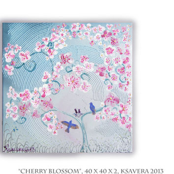 Painting Love birds SAKURA Landscape Cherry Blossom  Tree of life nest impasto Enchanted Forest KSAVERA flowers Floral Art family