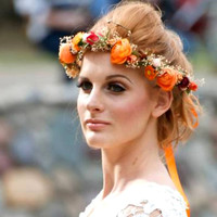 Destination Wedding Flower crown Bridal halo dried hair wreath photo prop headband orange wine gold berry preserved babys breath Accessories