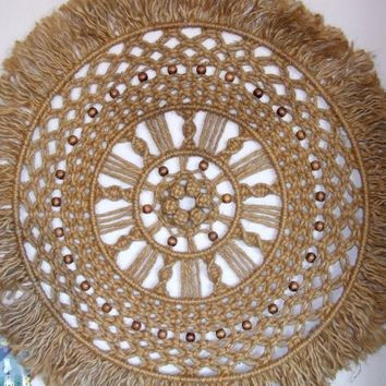 Large Round Macrame Wall Hanging of Jute ~ Vintage 1970's! Mid-Century