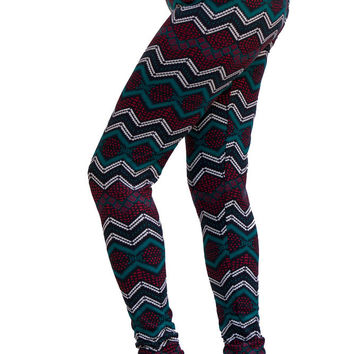Women's Regular SawTooth Multi Colored Leggings