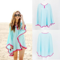 Women Hot Chiffon Lace Beach  Tassel Blouse Tops Beach Cover Up Bikini Swimwear = 1956996548