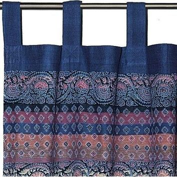 Unique Handmade Cotton Tab Top Curtain Drape Panel Paisley Good Luck Elephant