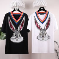 GUCCI 2019 summer new high-end tide brand rainbow V-neck free child sequins nail drill long T-shirt